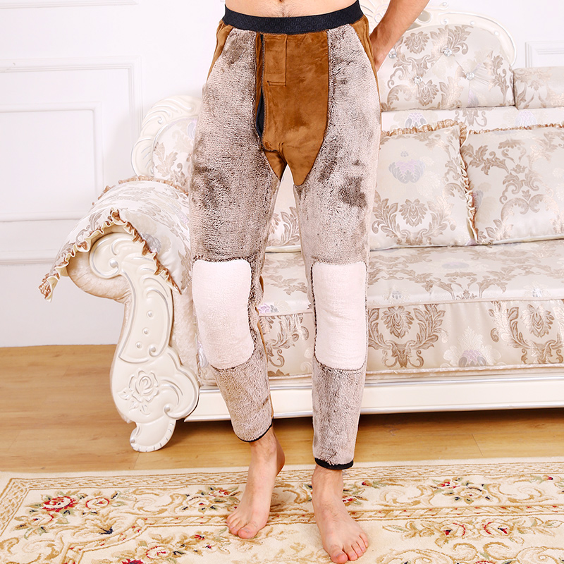 In winter, four layers of camel hair plus Plush thickened mens warm pants, high waist, cold proof, knee protection and waist protection, wearing northeast cotton pants for women
