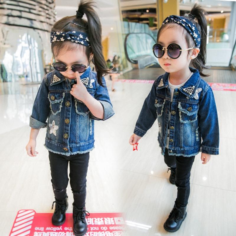女童牛仔兒童單排扣牛仔衣