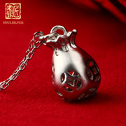 Old silversmith genuine silver purse pendant necklace 925 Silver ladies chain clavicle simple fashion Korean cute