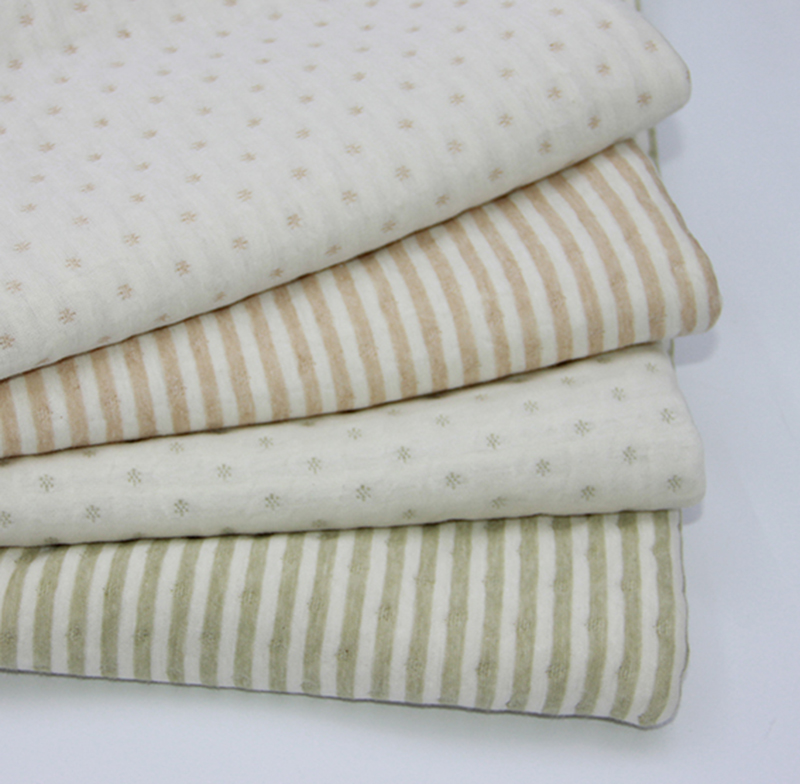 纯棉针织布 婴儿服装有机棉天然彩棉夹棉布料空气层宝宝秋冬布料