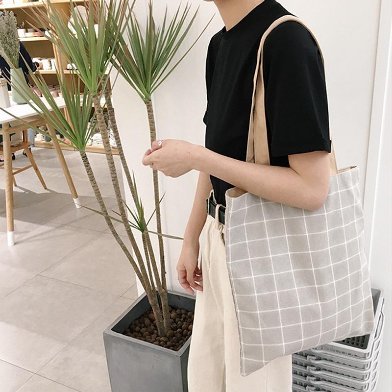 包郵雙面格子帆布包兩用型單肩手提棉麻小清新環保購物袋學生書包