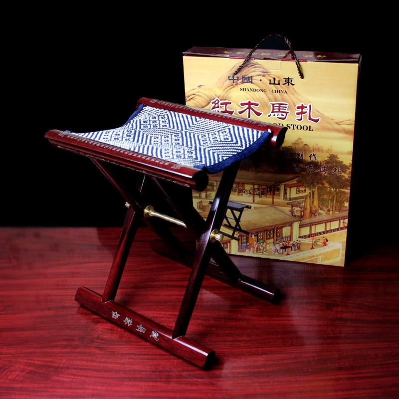 山东红木实木马扎子折叠凳子马扎凳镶银工艺送老人礼品便携