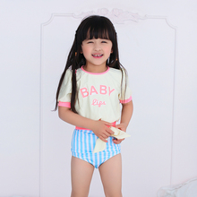 Ladies swimwear children short-sleeved fission exported to South Korea 2015 new baby sunscreen girls baby swimsuit with short sleeves