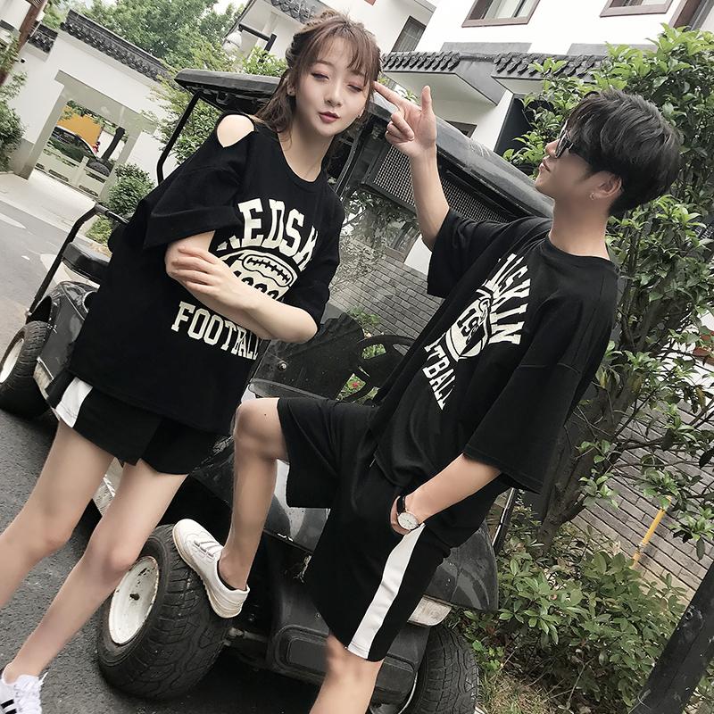情侣装夏装2018新款韩版短袖T恤套装女夏季学生宽松半袖班服男潮