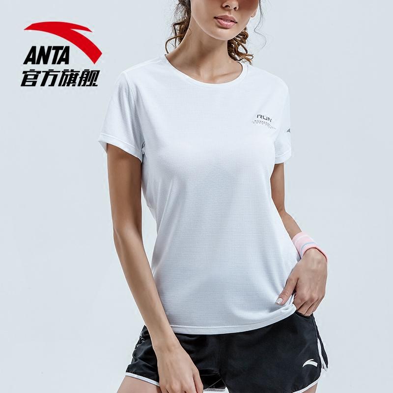 安踏短袖女 2018夏季新款舒适纯色印花瑜伽跑步短袖T恤16825146