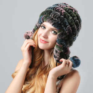 米黛洛新款七彩獭兔毛帽子女韩版潮护耳帽毛线帽保暖冬休闲帽