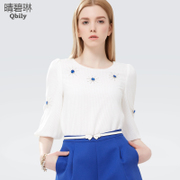 Linda 2015 spring green and sunny new Womenswear fashion round neck cropped Sleeve version of the flower-shaped hand nail drill shirt
