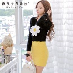 Sweater girls big pink doll spring 2015 new big flower t-feather yarn pullover