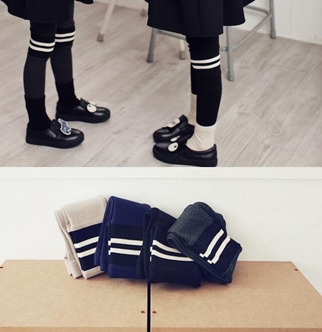 外贸童装2015冬季新款 女童条纹拼接小脚裤 儿童加厚不倒绒打底裤