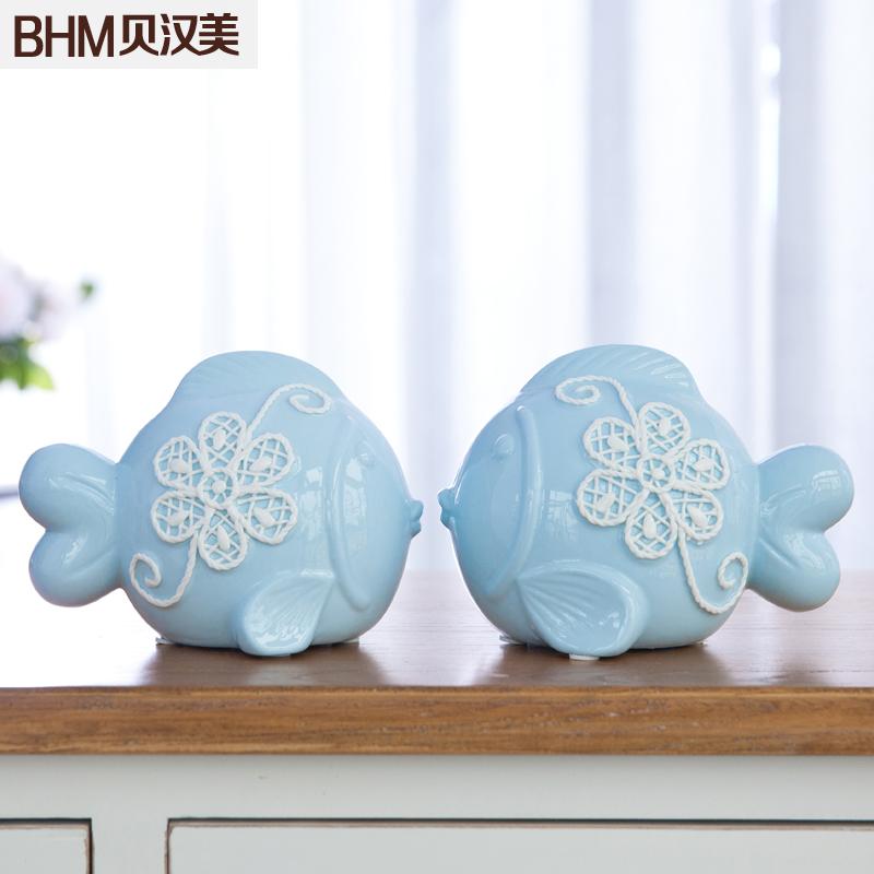貝漢美家居飾品裝飾擺件 簡約新家陶瓷工藝情侶對吻魚擺設