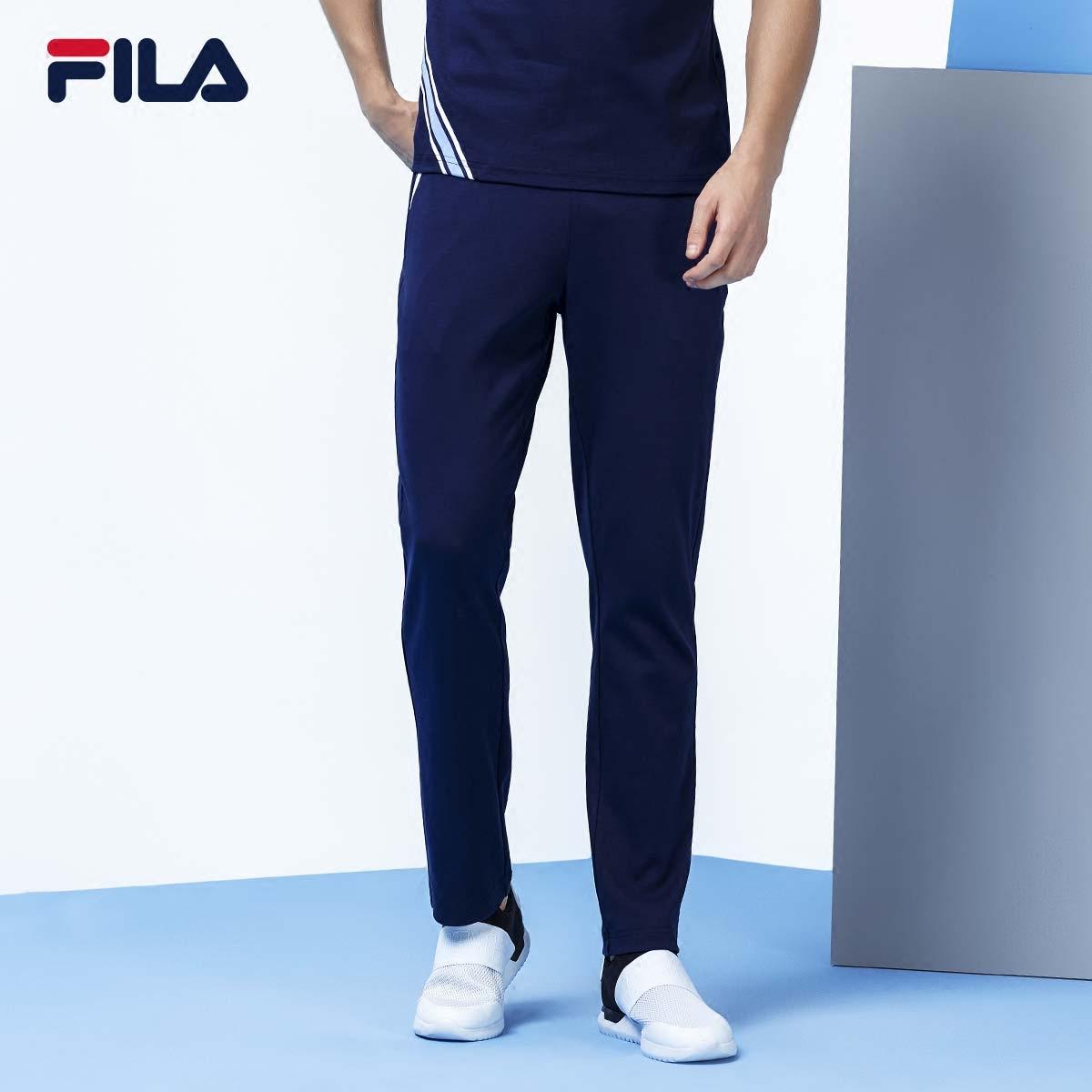 FILA斐乐男运动裤2018秋季新款针织长裤纯棉拉链口袋运动长裤男