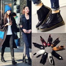 Мартин сапоги женщина британская мода натуральная кожа студент ботинки зима обувь женская квартира низкий кружево плюс бархат ботинки любители ботинок