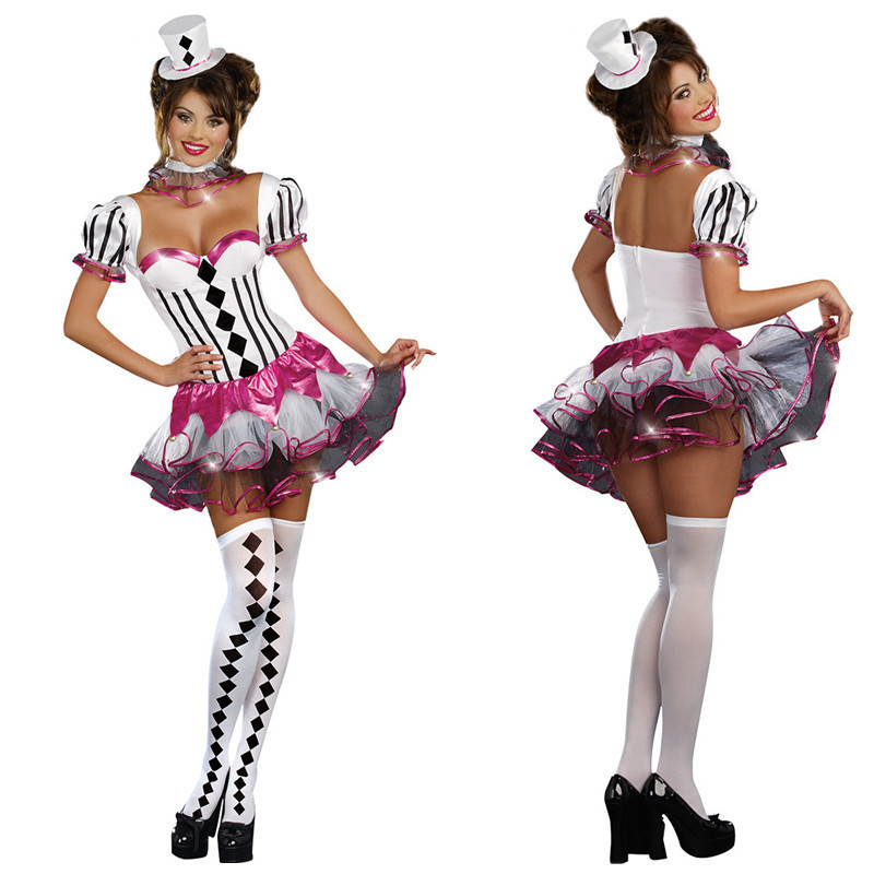 Halloween Costume circus costume Clown Costume role play adult female magician stage costume