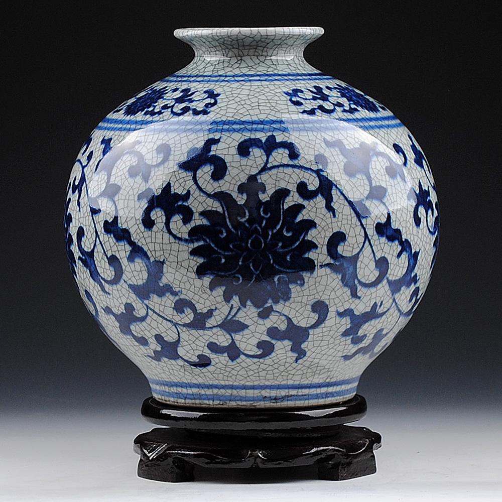 景德鎮陶瓷器仿古青花瓷花瓶裂紋釉官窯石榴瓶複古家飾博古架擺件