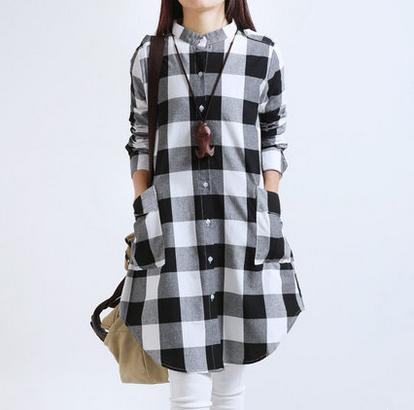 呀呀依8135#春季韩版大码女装休闲显瘦文艺范格子长袖棉麻衬衣