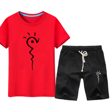 Natsume friend account clothes men's short-sleeved T-shirt suit youth trend student anime increase fat plus casual wear