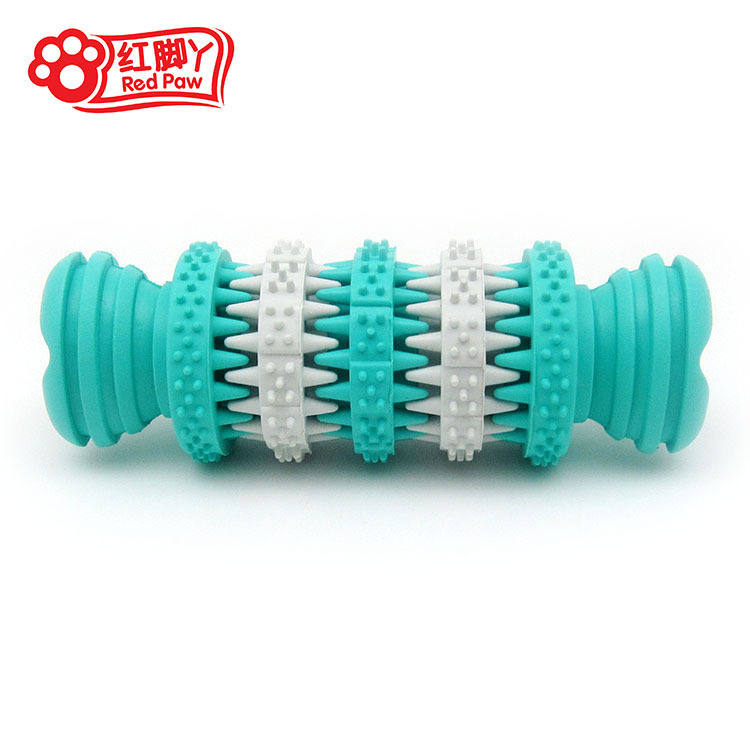 Supply red foot rubber teeth cleaning nail Ring Bone pet toy dog tooth brushing toy pet products wholesale