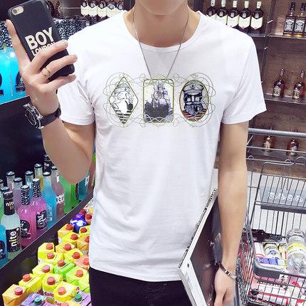 夏装男士T恤 精神小伙短袖体恤韩版圆领修身休闲青少年潮男装上衣