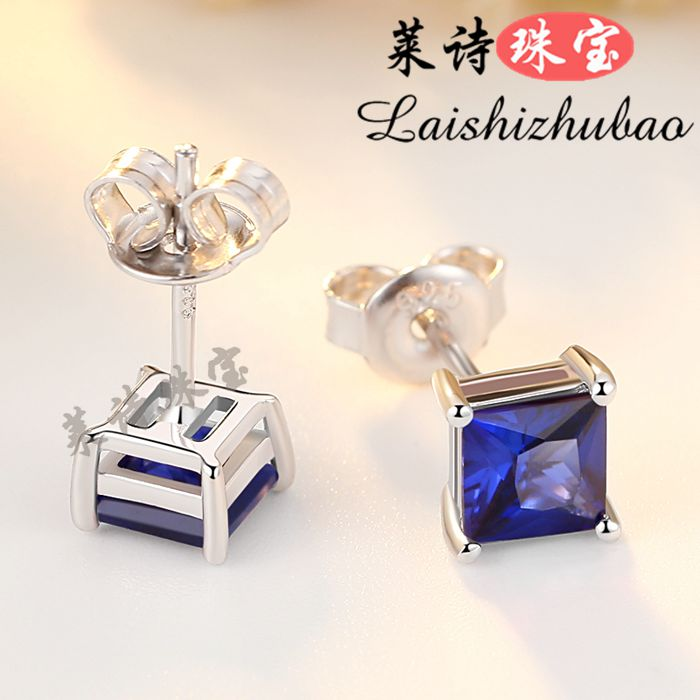 Sapphire Earrings womens Japanese and Korean pure silver plated 18K White Gold Earrings Color Gemstone tansang earrings silver jewelry