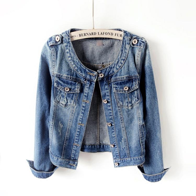 Spring / Autumn Korean version of the wild slim slim large size round neck long sleeve denim jacket female waistcoat