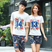 夏款情侣装1314情侣短袖T恤男女五分印花沙滩裤套装 T20加K20=P30