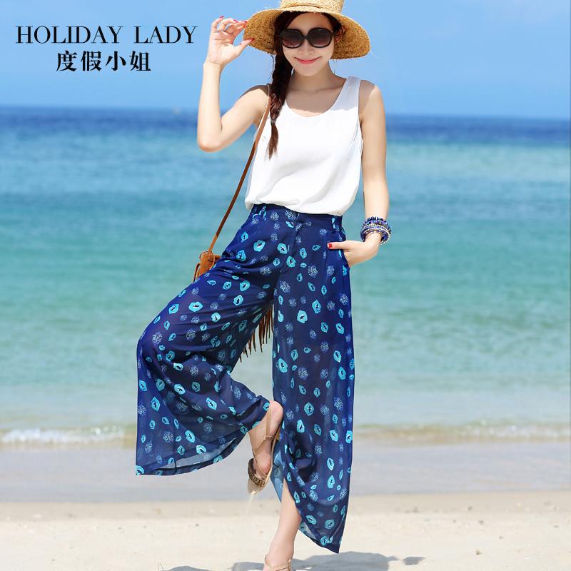 海边度假风阔腿裤薄垂感高腰雪纺沙滩裙裤宽腿裤女夏波西米亚套装