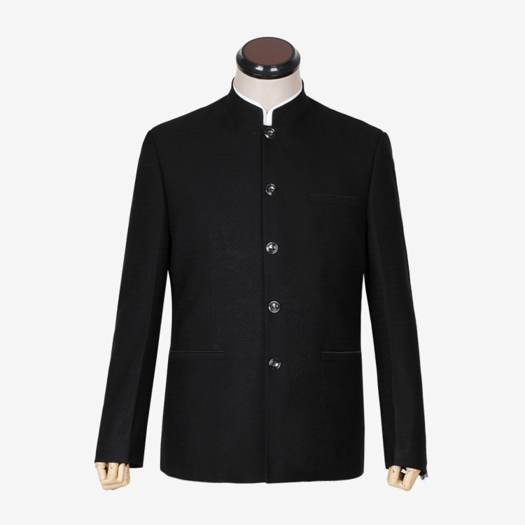 High grade Chinese tunic mens middle-aged vertical collar slim mens Chinese tunic suit top middle-aged and old Chinese jacket Korean version