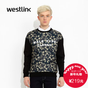 Westlink/West fall 2015 the new mesh flower letter printing splice sleeve knit men's sweater