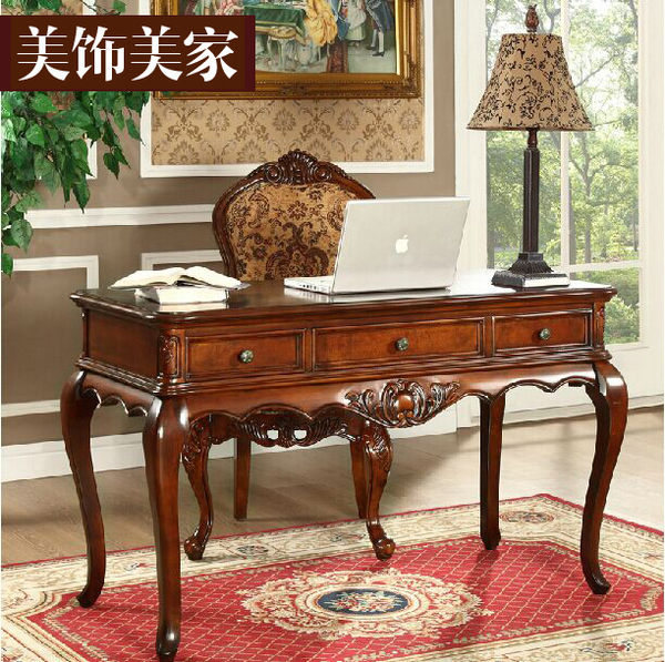 卧室书桌实木美式 复古做旧写字台老板桌办公桌带抽屉