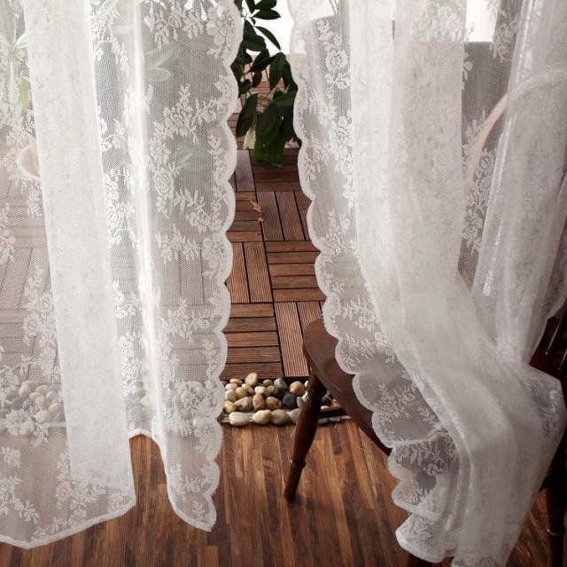 韩式田园蕾丝 成品白纱窗帘纱帘白沙客厅阳台飘窗美式乡村穿杆帘
