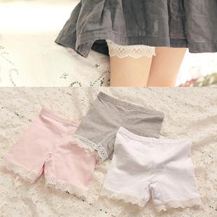 夏季兒童全棉打底褲女童短褲超彈力安全褲蕾絲邊防走光短褲五分褲