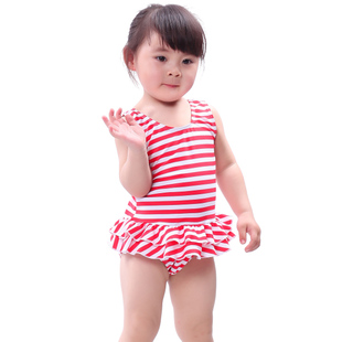 Yi Zi EZI Child baby swimming spa pink pink striped swimsuit girls 1 10 years old 7006