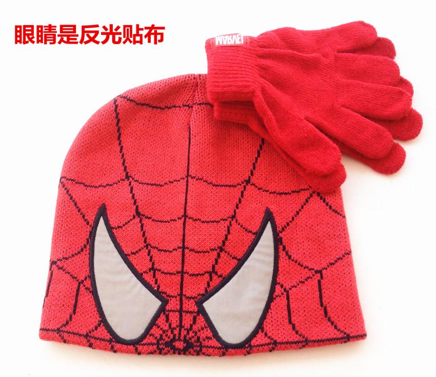 Коллекция осень-зима внешней торговли-паук Супермен Hat мальчиков вышивка костюм перчатки Вязаные шляпы детей на складе
