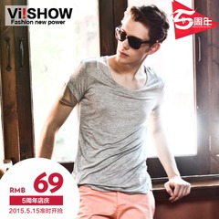 Viishow short sleeve t-shirt men's striped mosaic street fashion summer dress new casual slim fit crewneck men short t a solid color t