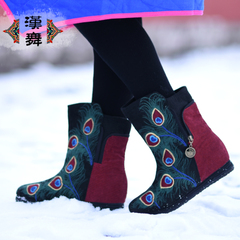 Chinese dance genuine spring and autumn embroidered boots of old Beijing folk style women boots high fashion bird boots Firenze