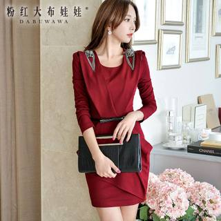 Autumn dress big pink doll 2015 new style elegance ladies bubble long sleeve red dress