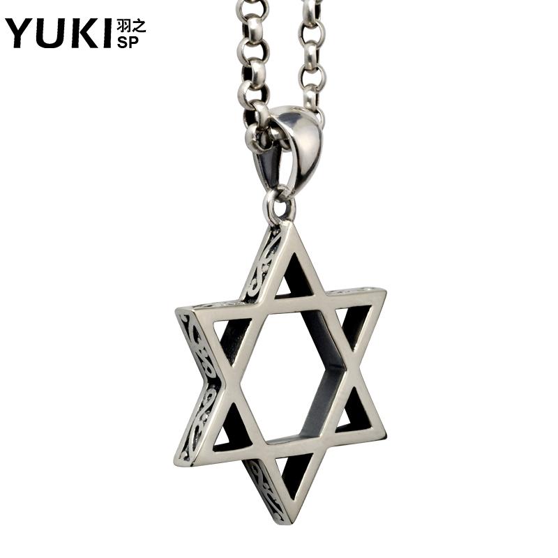 YUKI男士 泰銀飾品六芒星吊墜925銀項鏈鎖骨鏈 配飾女