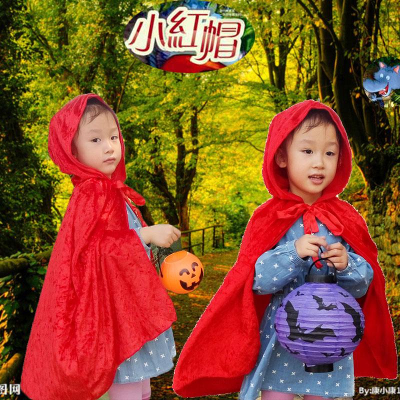 Девочки Хэллоуин костюм маленькая красная шапочка костюм костюм ребенка мыса плащ косплей Детская одежда