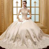 婚纱礼服新娘齐地新款香槟色冬季韩式复古立领齐地公主奢华包肩蓬