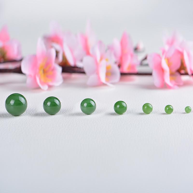 和田玉碧玉圆珠子散珠DIY饰品串珠菠菜绿项链手链珠子定制配珠