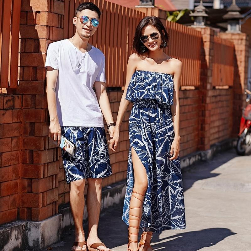 沙滩情侣装夏装套装2018新款女海边度假连衣裙不一样的情侣款裙子