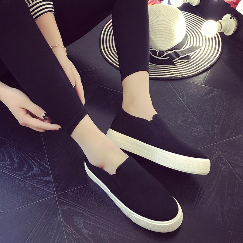 2017厚底帆布鞋女韓版學生松糕樂福鞋平底百搭休閑鞋一腳蹬懶人鞋