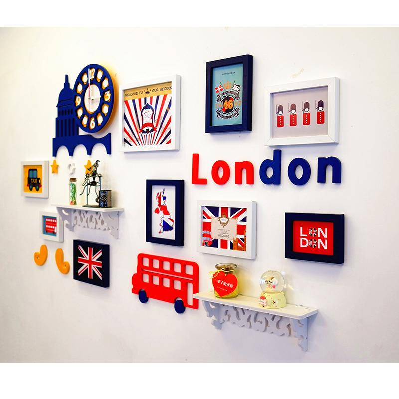 歐式英倫地中海照片牆 相框掛牆卡通相片牆兒童房間7寸