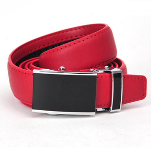 Automatic buckle belt leather belt female models women wild simple leather belt lap red black brown