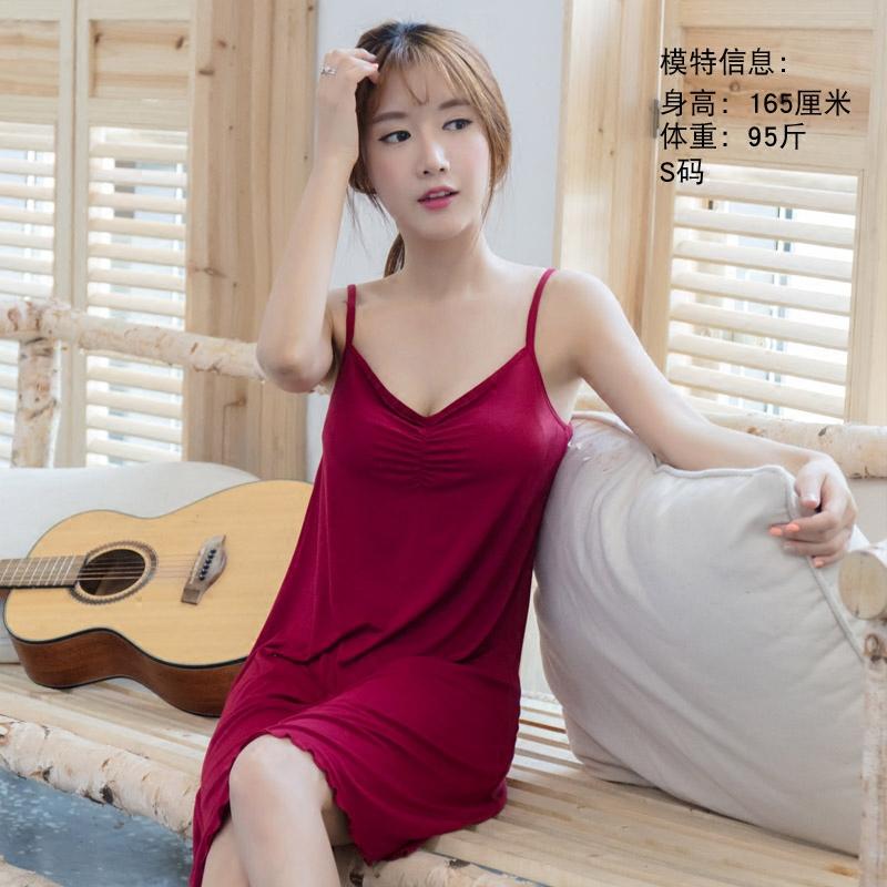 夏季性感吊带睡裙带胸垫免穿文胸莫代尔大码胖mm薄款冰丝睡衣女