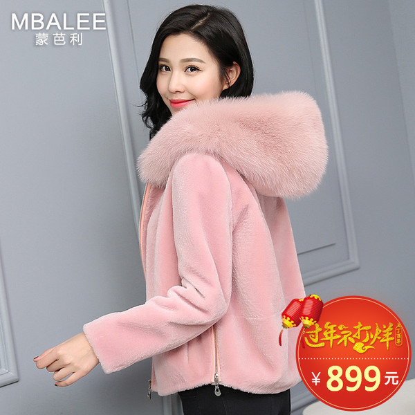 Meng Bali 2016 winter new Haining sheep shearing fur coat fox fur coat short paragraph long-sleeved hooded woman
