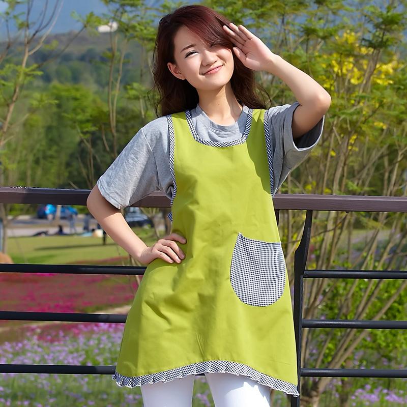 七之莲升级款女士韩版荷叶边帆布围裙 9227高档餐厅工作服围裙