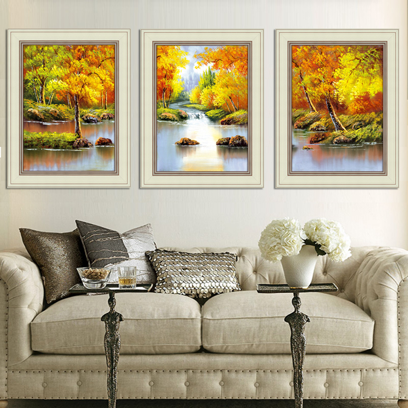 客廳裝飾畫壁畫簡約掛畫沙發背景牆畫風景油畫餐廳臥室玄關三聯畫