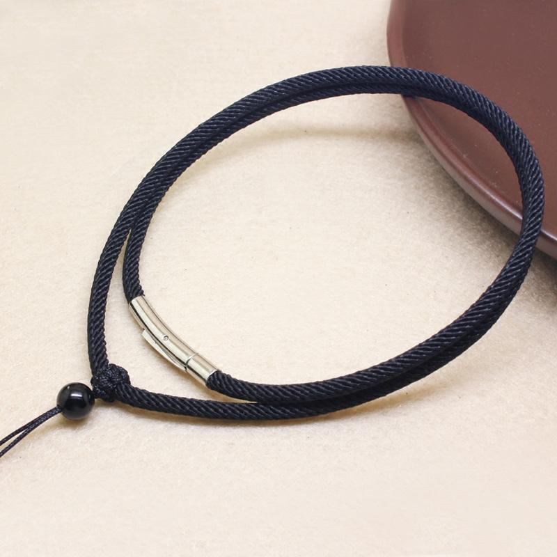 项链绳编织翡翠玉佩吊坠挂绳玉坠水晶吊坠绳粗挂件绳黑红绳子男女