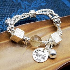 原创925银手链女纯银手工设计多圈时尚优雅简约百搭银牌创意手链